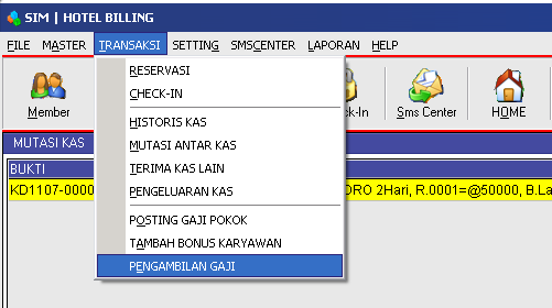 Menu Detail Transaksi