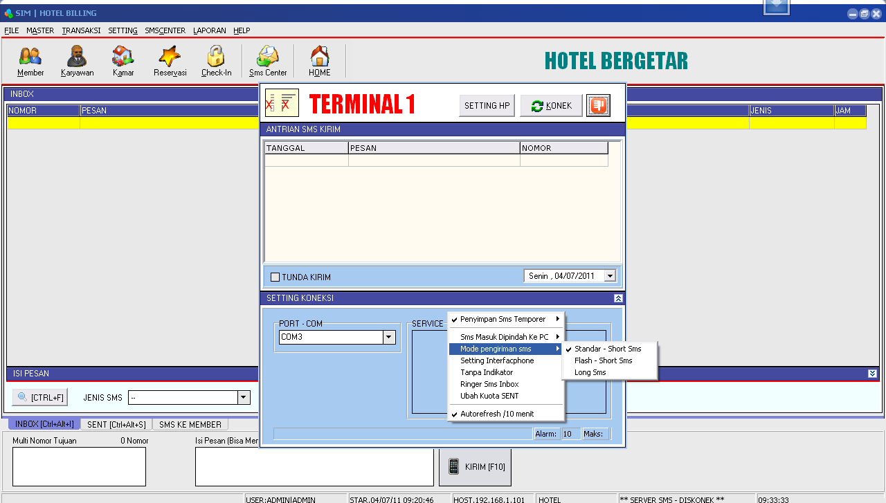 Setting SMS Center Hotel