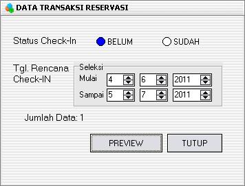Data Transaksi Reservasi